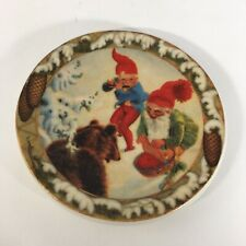 ARABIA FINLAND ANDERS OLSSON 2 GNOMES ELVES & BEAR PLATE WALL PLAQUE 4.75""