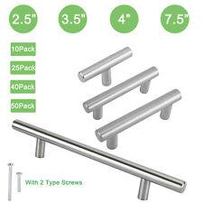 T Bar Pull Handles Modern Kitchen/Bath Cabinet Hardware Brushed Stainless Steel