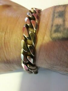 heavy vintage 9ct gold french curb bracelet..67.4gr..not scrap