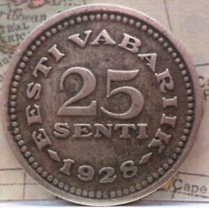 Estonia: 1928 25 Senti  Reform Coinage KM # 9  B-280