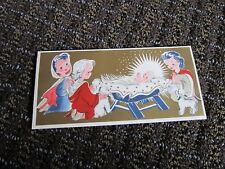 Vintage Christmas Card Little Shepherds Lambs around Baby Jesus Unused Free Ship