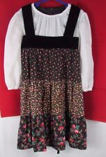 Girl's 7 vintage JC Penney's jumper dress flowers dot peasant top velvet trim