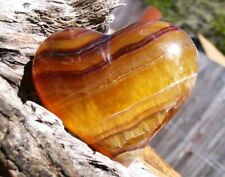 Amazing, Large BANDED RAINBOW FLUORITE HEART**Hard To Find!