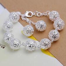 925 Silver Plated Balls Bracelet Bangle Women Fashion jewelry **UK Seller