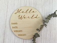 Hello World   Birth Announcement Sign   Baby Photo Prop   Wooden Birth Sign