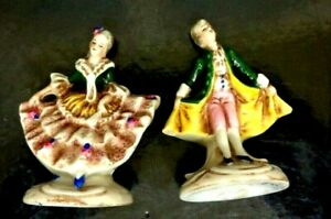 Pair Antique French Eur.Porcelain Group Figurine's Lady/Man Dancers 3 Inch Stamp