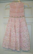 Luli & Me pink Smocked dress - 7, green Flowers, sleeveless, gorgeous!