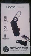 iHome POWER CLIP 2,600mAh UNIVERSAL EXTERNAL BATTERY Smartphone Tablet IH-CT4010