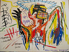 Original, Painting, Signed, Jean Michel Basquiat,Certificate, Graffiti, Drawing