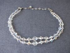 Vintage rhinestones clasp iridescent faceted crystals 2 strands choker necklace