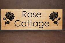 House Sign Engraved Wood Personalised Design - Solid Oak - Shed, Stable, Boat