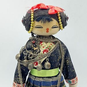 Vintage Chinese Folk Doll Wood Painted Clothing Jewelry
