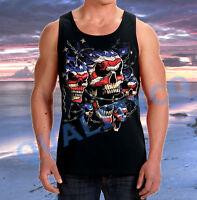 Men's American Flag Patriotic Skulls Black Tank Top Barbed Wire US USA S-3XL Tee