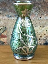 Very Rare Antique 1905 Miniature Johann Loetz Papillion Silver Overlay Vase