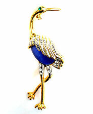 Exotic Bird Brooch Yellow Gold Plated Metal Pin Blue Stone Crystal Feather Gift