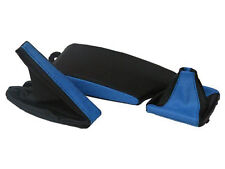 FITS BMW E36 E46 LEATHER ARMREST COVER&GAITERS BLACK L BLUE