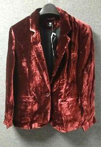 F&F CLOTHING VELVET BLAZER RED SIZE UK 16 rrp £29 NH014 CC 18