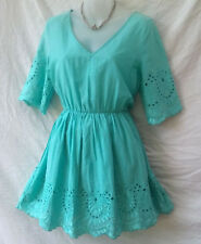 Lily Whyt Size 12 Mini Dress NEW+TAG Aqua Embroidered Casual Beach Party Holiday