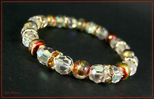 LOVELY FACETED YELLOW & CLEAR CRYSTAL & PAINTED SWIRL BEAD SILVER BRACELET (19)