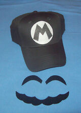 "Handmade Super ""Metal"" MARIO Costume Face Pieces & Hat w/ Letter ""M"""