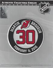 2016 Martin Brodeur Retirement Ceremony Patch #30 New Jersey Devils Official NHL