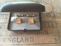 Vintage Jewellery Gold Cuff Links Art Deco Shield Cufflinks orig box Antique