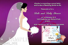 PERSONALISED BRIDAL/BABY SHOWER INVITATIONS + MAGNET STRIPS (BELLS AND BELLY)