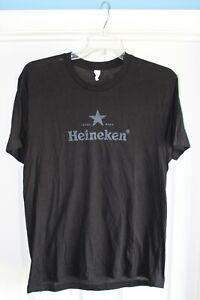HEINEKEN Black T Shirt Men's LARGE Official Beer Promo Tee Cotton Blend