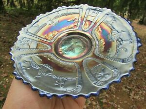 Fenton SAILBOATS ANTIQUE CARNIVAL ART GLASS PLATE~BLUE!!!~SUPER TOUGH COLOR!!!