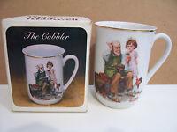 Norman Rockwell Museum The Cobbler Porcelain Gold Trim Mug Coffee Tea Cup