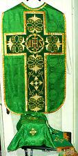 Green Chasuble Fiddleback Latin Mass Set Gold Embroider+Veil,Maniple,Stole,Burse