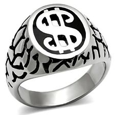SS ROUND CUT MENS DOLLAR RING BLING size 8 -13 you choose