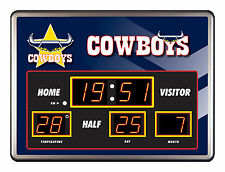 North QLD Queensland Cowboys NRL SCOREBOARD LED Glass Clock Date Time Temp Gift