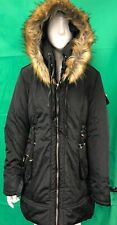 Blue Inc Ladies Plain Black Puffy Parka Coat Size 16 Flux Fur HoodRRP £49.99#255