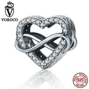 VOROCO Endless Love Heart Charms 925 Sterling Silver With AAA CZ And High Polish