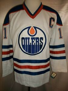 "Mark Messier Edmonton Oilers White ""1981-1996 Throwback"" CCM NHL Jersey Medium"