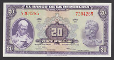 COLOMBIA  20 Pesos 1950 UNC  P392d  Perfect UNCIRCULATED banknote  VERY RARE