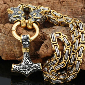 Wolf Head Thor Hammer Necklace Pendant Heavy Chain Stainless Steel Viking Norse