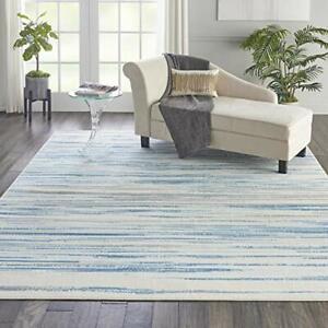 "Nourison Jubilant Modern Coastal Blue Area Rug 7'10"" x 9'10"" 8' x 10"