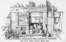 Yorkshire - Hole of Horcum, Saltersgate Hotel, Fireplace - Vintage Postcard