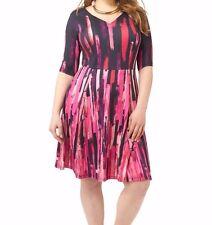 Triste Fuchsia Brushstroke Fit & Flare Dress Size 1X