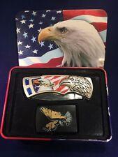 USA Flag Bald Eagle Tin United We Stand Pocket Knife and Lighter