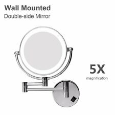 LED 5X Magnifying Makeup Mirror 8 inch Double-Sided Swivel Lighted Wall Mount US
