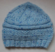 Hand knitted Baby Hat Pale Blue with Blue Spots Newborn