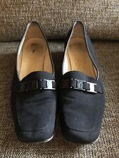 Vintage Black Nylon Loafers by Salvatore Ferragamo Size 7 Logo Toe