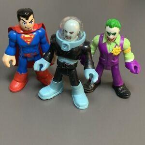 3PCS Imaginext Toys DC Super Friends Joker Mr Freeze Superman Figures Kids Toys