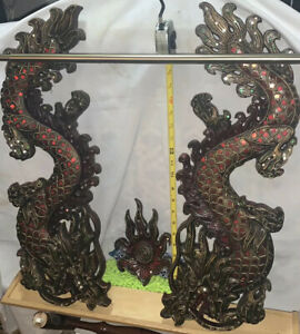 Huge Wall Sculpture ANTIQUE HAND CARVED Double Dragon Red Stone 3 Piece Set Asia
