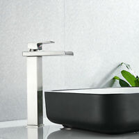 BWE Bathroom Sink Faucet Single Hole/Handle Lavatory Waterfall Mixer Tap Brushed