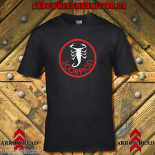 Scorpion snowmobile t-shirt with vintage circle style logo black