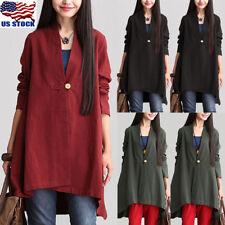 Women Cotton Line V Neck Long Sleeve Tops Pullover Baggy Tunic Coat Jacket Shirt